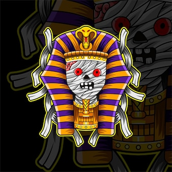 Mummie esport mascotte logo ontwerp