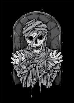 Mummie lijk zombie illustratie