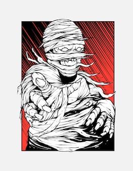 Mummie schreeuw illustratie voor t-shirtontwerp