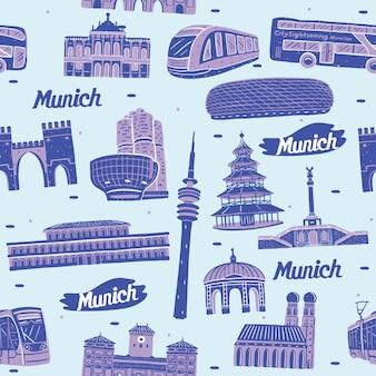 München stad naadloos patroon met bezienswaardigheden elementen