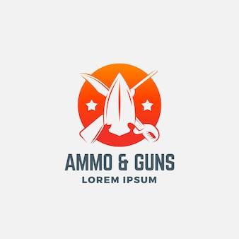 Munitie en geweren abstract pictogram, symbool of logo sjabloon.
