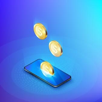 Munt daalt in de isometrische banner van de mobiele telefoon. online bankieren of betalingsdienst. stort aanvulling en bespaar geld. illustratie