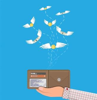 Munt en dollarbiljet die over hand met portefeuille vliegen