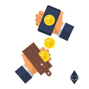 Munt ethereum. elektronisch geld valt uit de smartphone-portemonnee in de hand. ontwerp. geïsoleerd op wit. cryptocurrency-technologie, bitcoin-uitwisseling, bitcoin-mijnbouw.