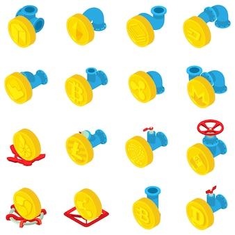 Munt stroom iconen set, isometrische stijl