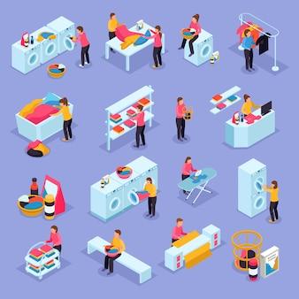 Munt wasserette zelfbediening kamer klanten apparatuur proces isometrische pictogrammen instellen met wasmachines drogers