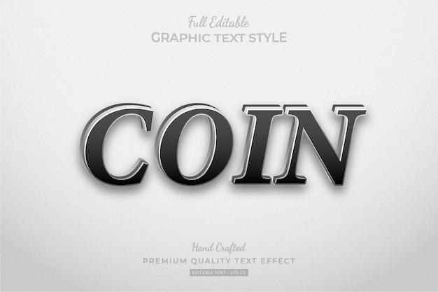 Munt zilver bewerkbaar premium teksteffect