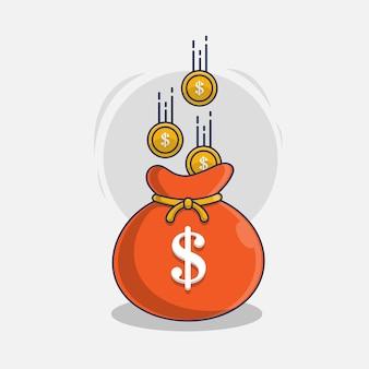 Munten en geld tas pictogram vectorillustratie