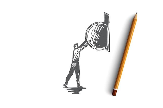 Munten, goud, geld, succes, contant geldconcept. hand getekende man munt gezet in spaarpot concept schets. illustratie.