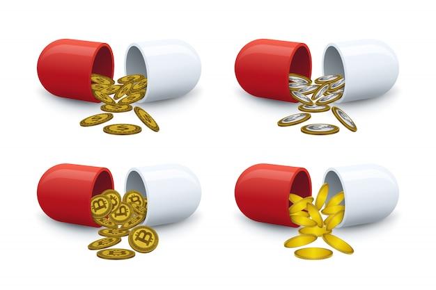 Munten komen uit pillen