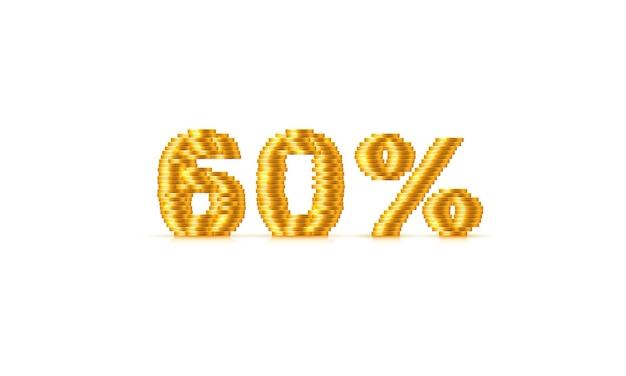 Munten stack 60 verkoop tekst teken. vector illustratie