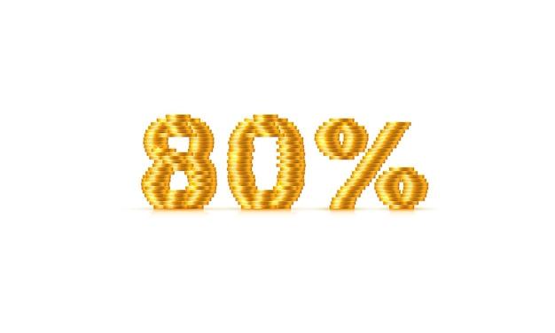Munten stack 80 verkoop tekst teken. vector illustratie