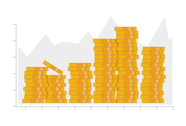 Munten stapel. infographics elementen.