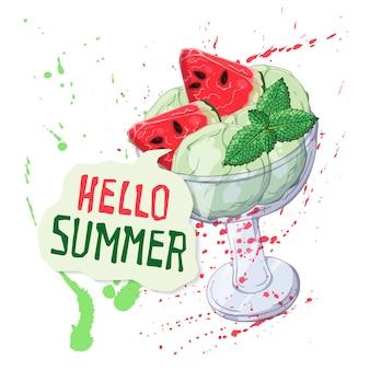 Muntijs in glaskop met watermeloen wordt verfraaid die