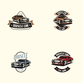 Muscle car-logo in retro stijl. retro auto logo vector