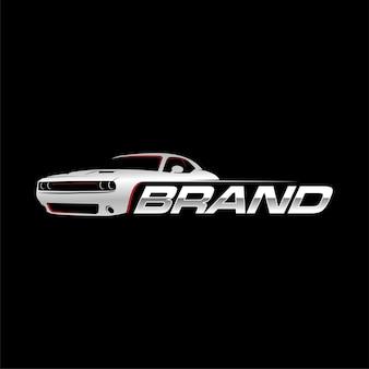 Muscle car-logo met zwarte achtergrond