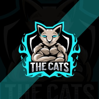 Muscle cat mascotte esport logo-ontwerp