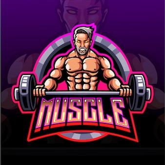 Muscle esport mascotte logo ontwerp