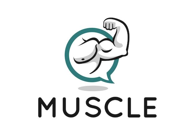 Muscle logo ontwerp voor fitnessforum of blog
