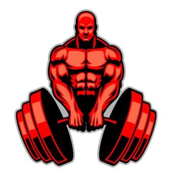 Muscle man bodybuilder houdt de enorme halter vast
