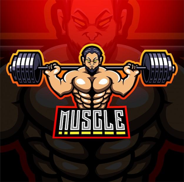 Muscle man esport mascotte logo ontwerp