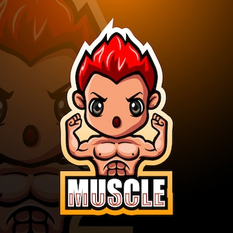 Muscle mascotte esport illustratie