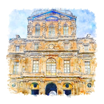 Musee du louvre parijs frankrijk aquarel schets hand getrokken illustratie