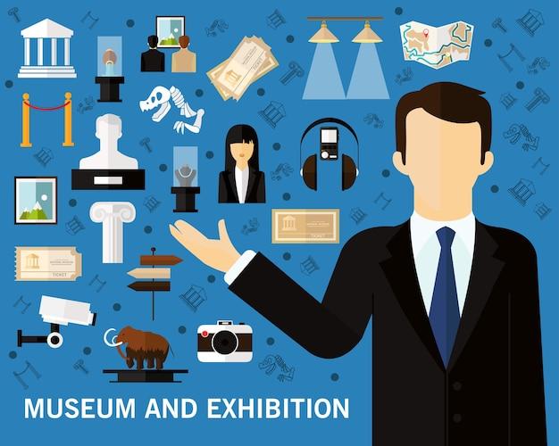 Museum en tentoonstelling consept achtergrond. vlakke pictogrammen.