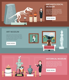 Museum horizontale banners. archeologische sectie met skeletten van dinosauriërs antieke amforen kunstgalerie schilderijen uit renaissance middeleeuwse sectie met ridderlijk pantser en kroon. Premium Vector