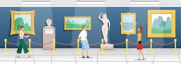 Museum voor schone kunsten met bezoekers. hal met schilderijen in verguld stokbrood en sculpturen. klassieke kunst