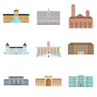 Museumdag italië paleis pictogrammen instellen