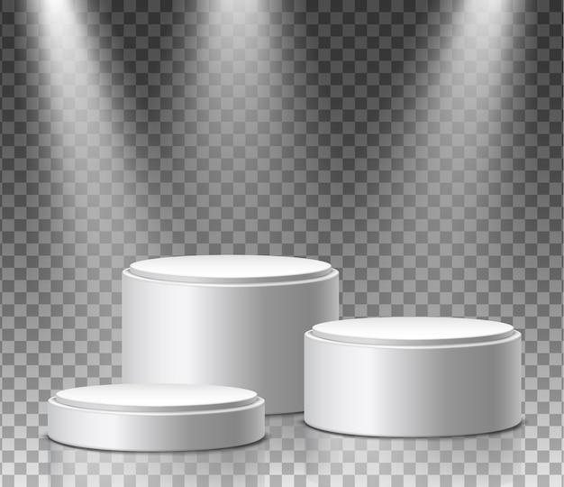 Museumexpositie, blanco product ronde stands