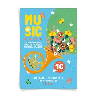 Music fest poster geïllustreerde stijl