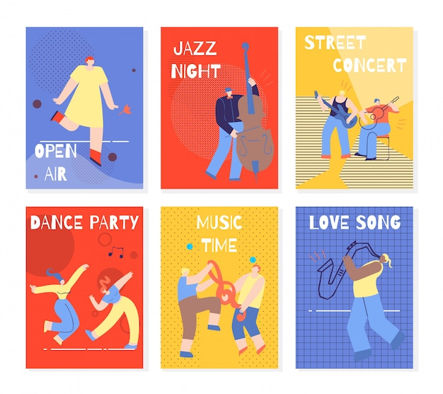 Music party performing people kleurrijke kaarten set