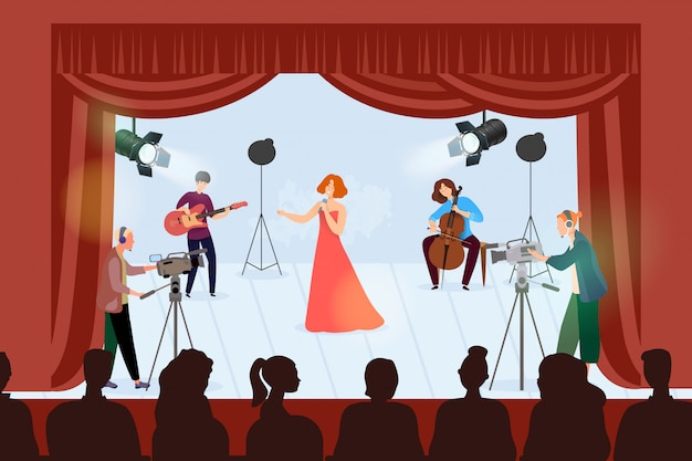 Musicus groep concert illustratie. mensen optreden met instrumentmuziek, spelen op cartoon podium met gitaar
