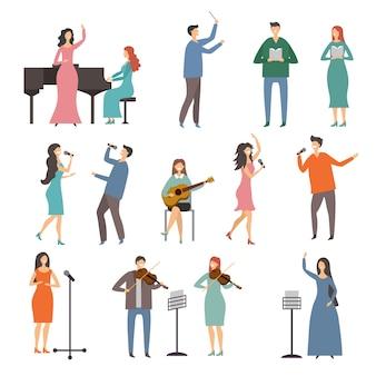 Musicuspersonen in verschillende muziekduetten. vector tekens van zangers