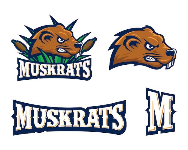 Muskrats sport logo set