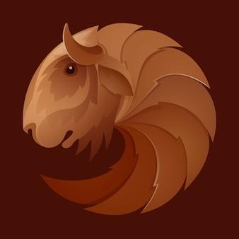Muskusos hoofd volume sport logo. dierlijke sjabloonontwerpelementen voor uw huisstijl of sportteam-branding.