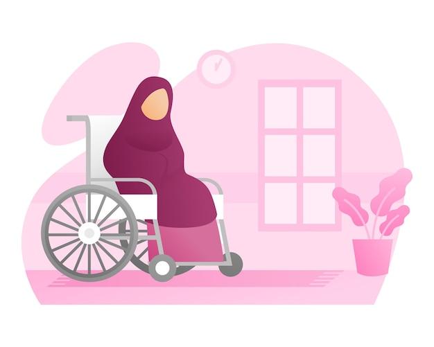 Muslimah-meisje bidt thuis terwijl ze in een rolstoel zit