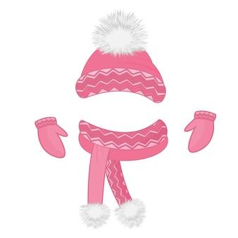 Muts met pluizige pompon, sjaal, wanten. set winterkleren.