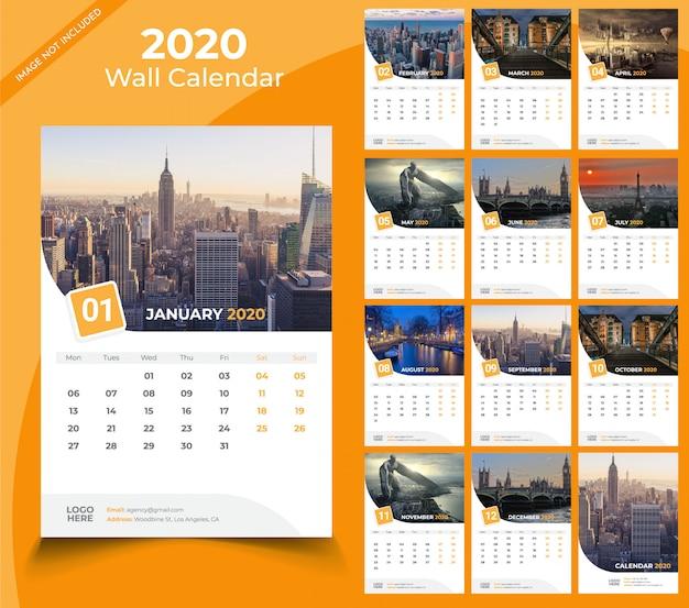 Muur kalender 2020-sjabloon