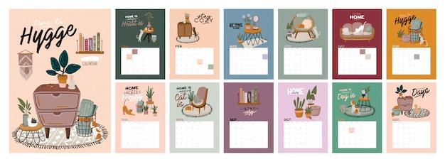 Muur kalender. . jaarplanner met alle maanden. goede schoolorganisator en schema. leuke huis binnenlandse achtergrond. motiverende citaat belettering.
