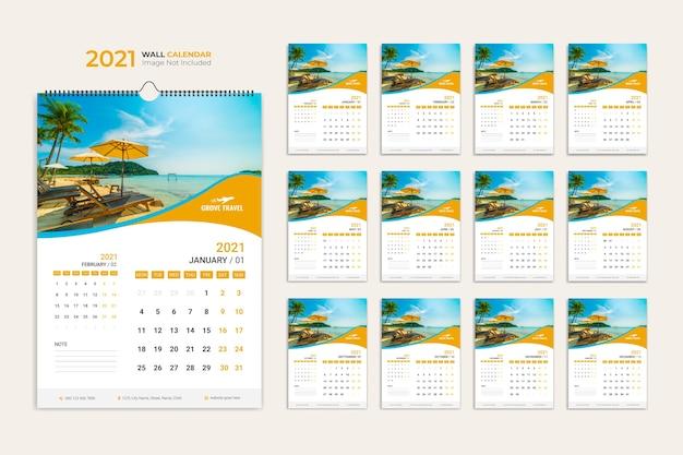 Muur kalendersjabloon, kalender