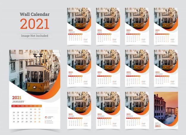 Muur planner kalendersjabloon voor 2021 jaar