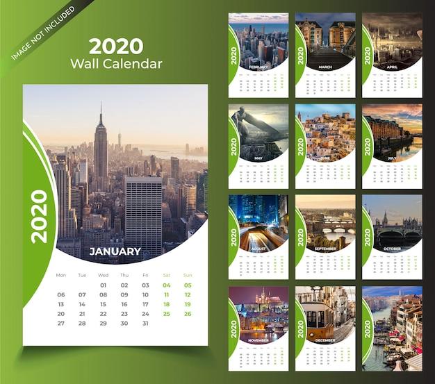 Muurkalender voor 2020-sjabloon