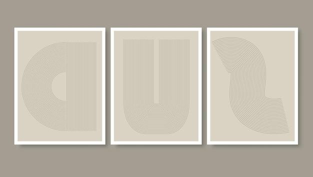 Muurkunstcollectie met simplistisch lijntekeningenontwerp