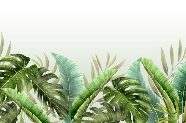 Muurschildering behang met tropisch gebladerte