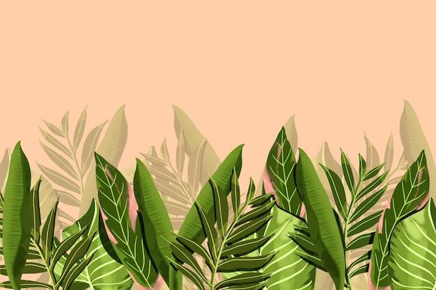Muurschildering behang met tropische bladeren
