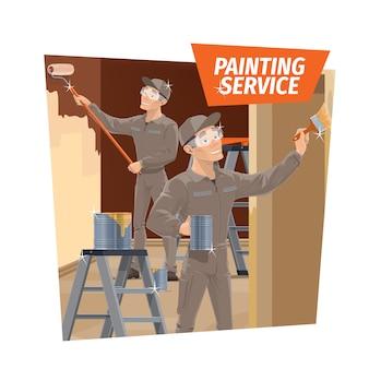 Muurschildering en houtvernis, service