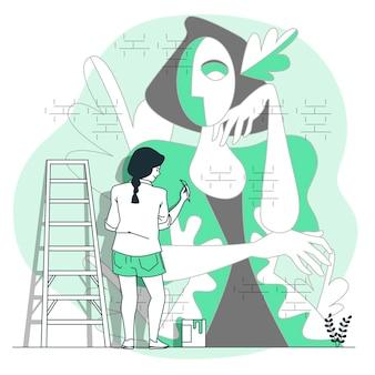 Muurschildering kunstenaar concept illustratie
